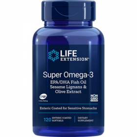 Super Omega-3 EPA/DHA Fish Oil, Sesame Lignans & Olive Extract - 120 Softgels