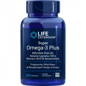 Super Omega-3 Plus EPA/DHA Fish Oil, Sesame Lignans, Olive Extract, Krill & Astaxanthin - 120 Softgels
